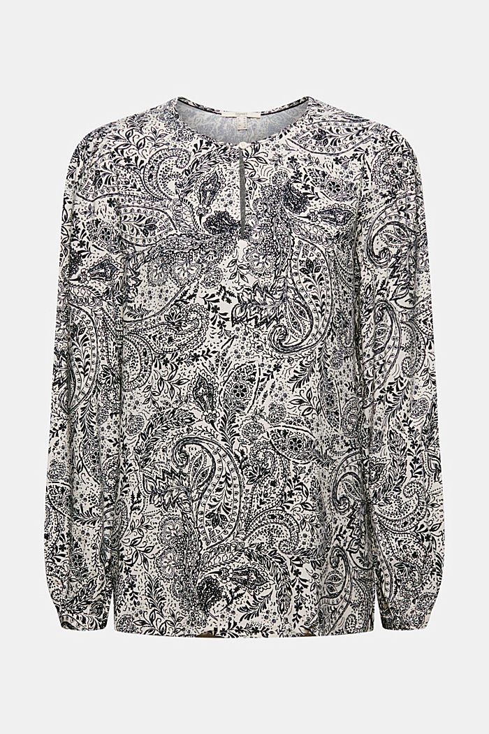Paisley print blouse, OFF WHITE, detail image number 6