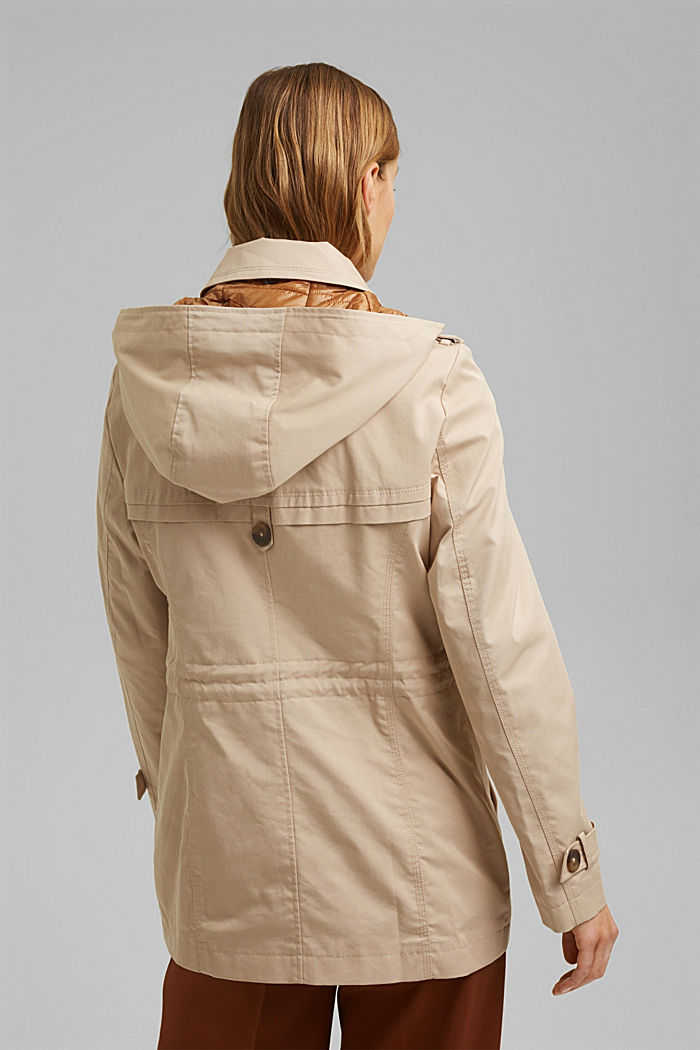 Recycled: Rain jacket with organic cotton, SAND, detail image number 3