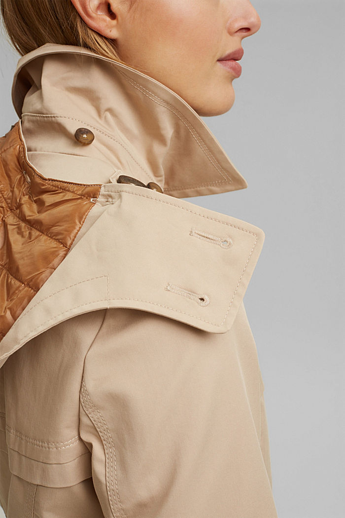 Recycled: Rain jacket with organic cotton, SAND, detail image number 2