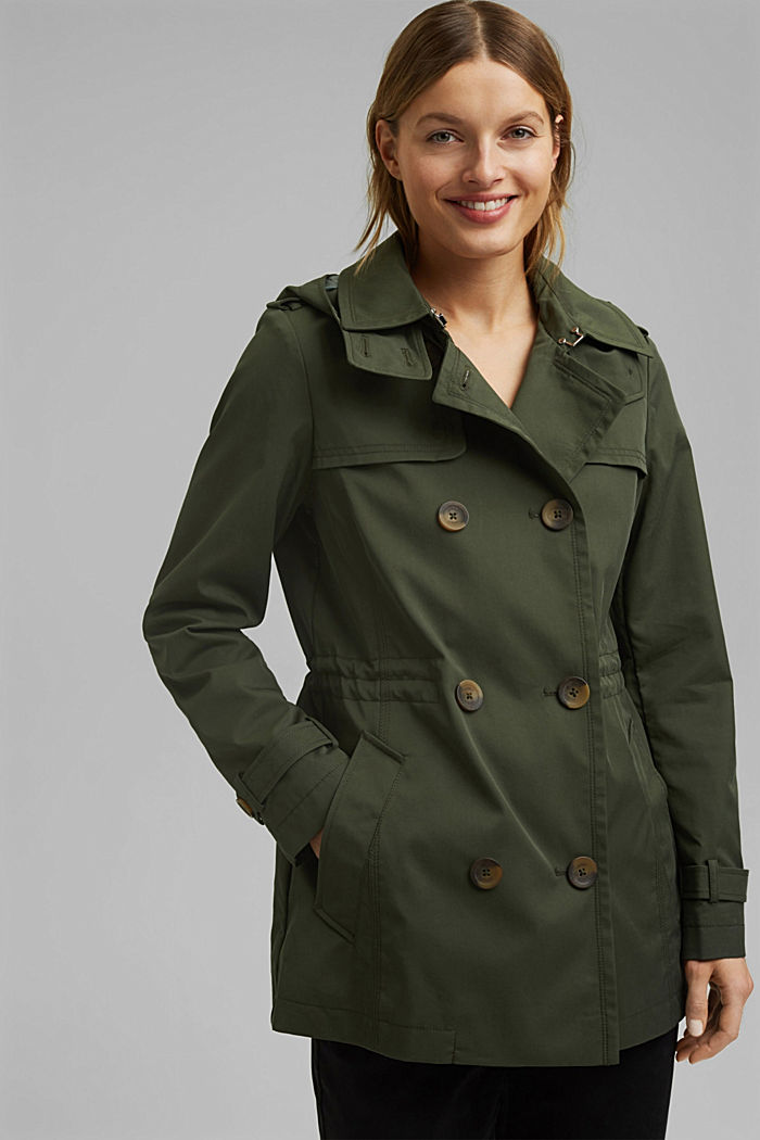 Recycled: Rain jacket with organic cotton, KHAKI GREEN, detail image number 0