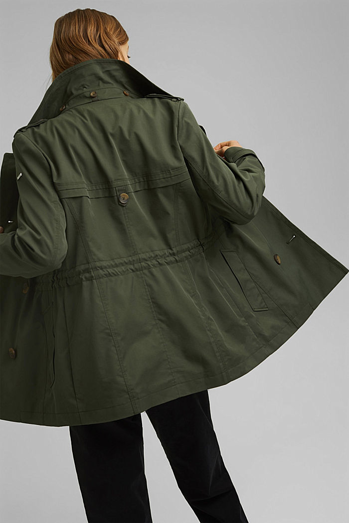Recycled: Rain jacket with organic cotton, KHAKI GREEN, detail image number 3
