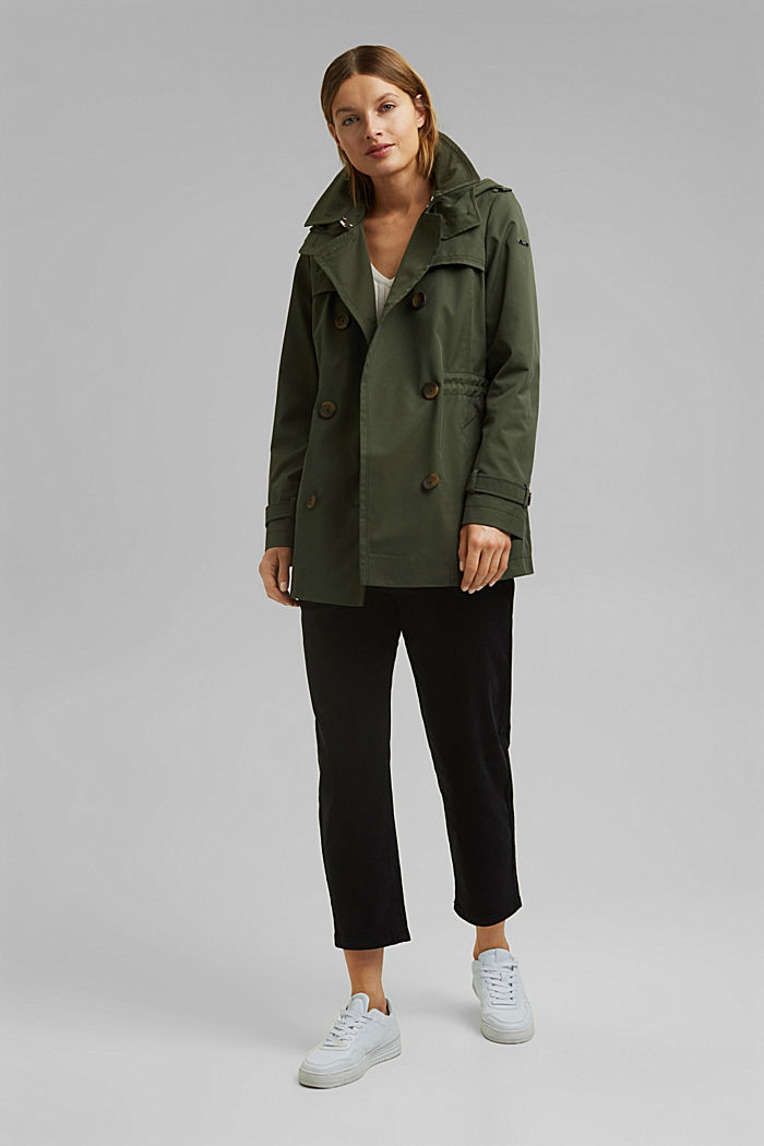 Recycled: Rain jacket with organic cotton, KHAKI GREEN, detail image number 1