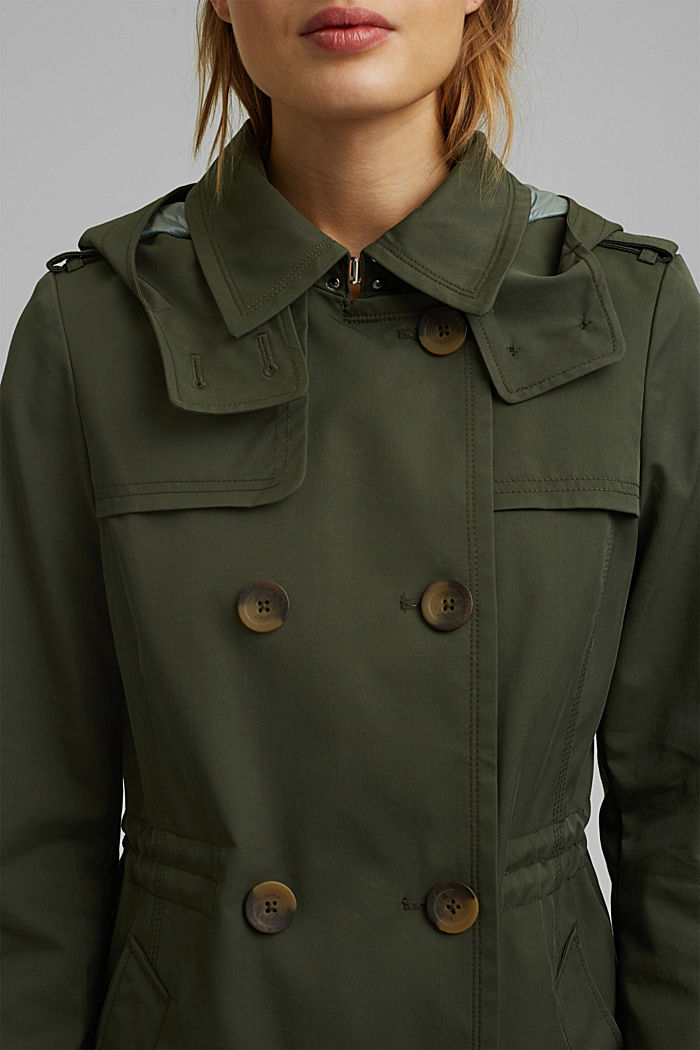 Recycled: Rain jacket with organic cotton, KHAKI GREEN, detail image number 2