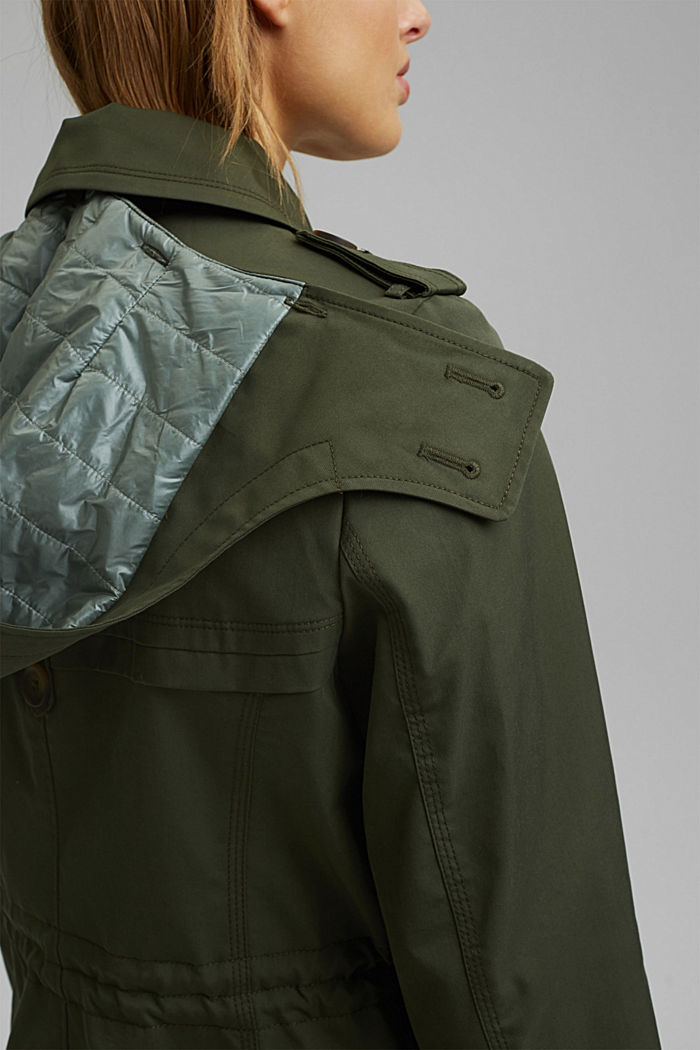 Recycled: Rain jacket with organic cotton, KHAKI GREEN, detail image number 5