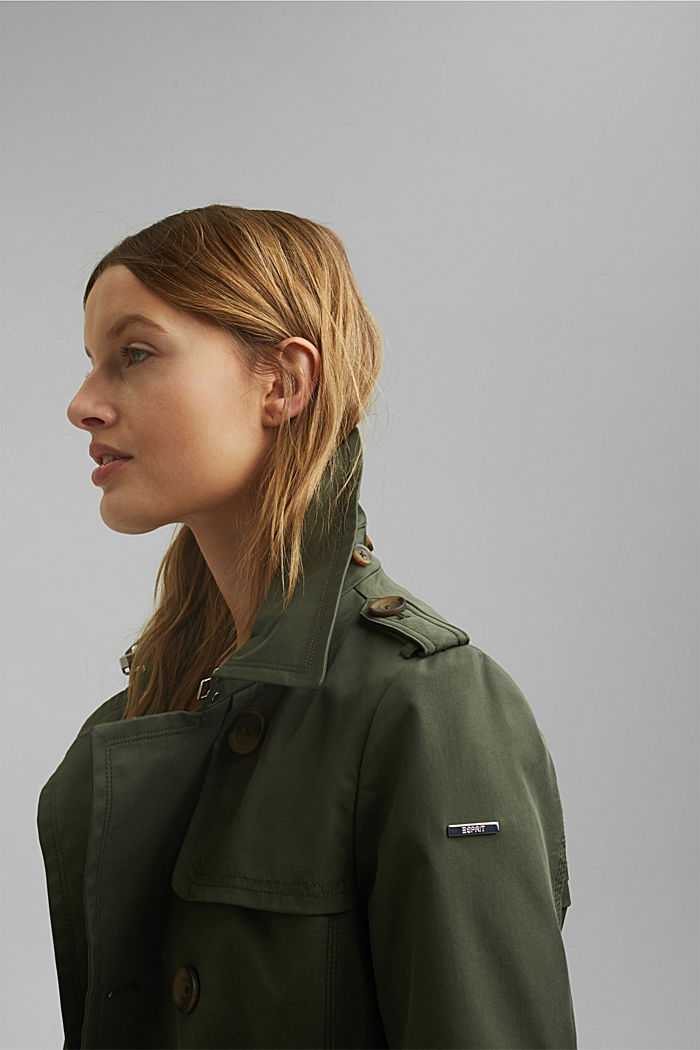 Recycled: Rain jacket with organic cotton, KHAKI GREEN, detail image number 6