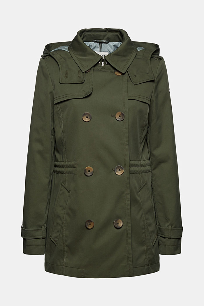Recycled: Rain jacket with organic cotton, KHAKI GREEN, detail image number 7