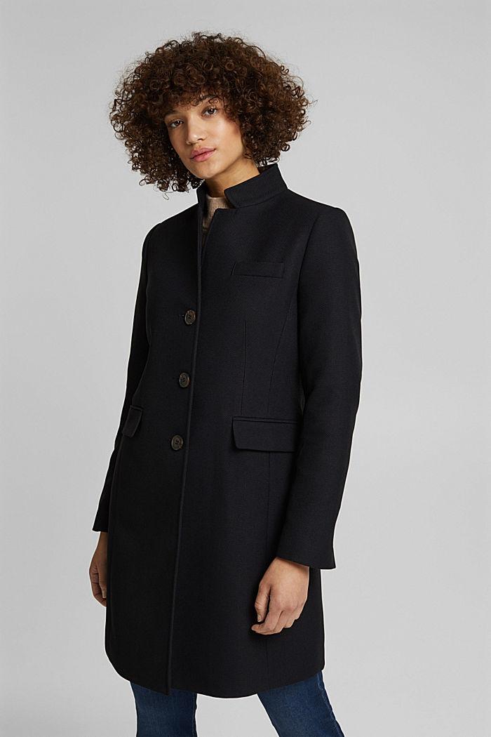 Textured blazer coat, BLACK, detail image number 0