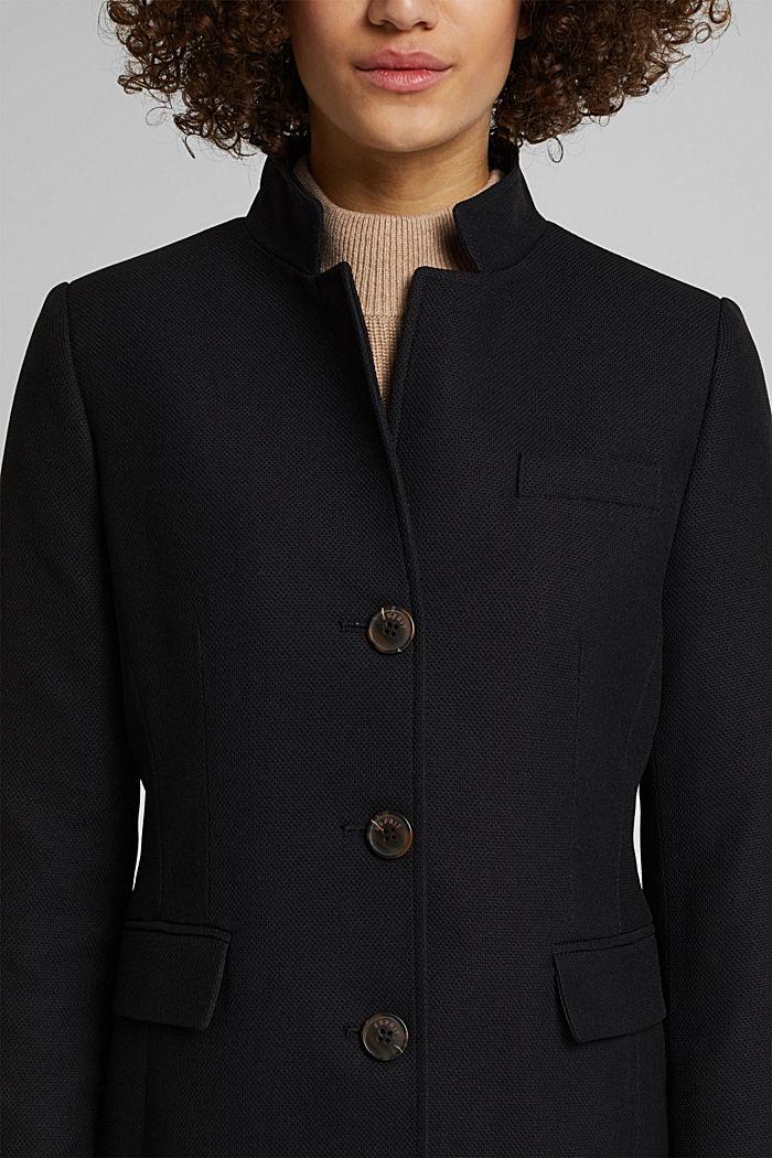 Textured blazer coat, BLACK, detail image number 2