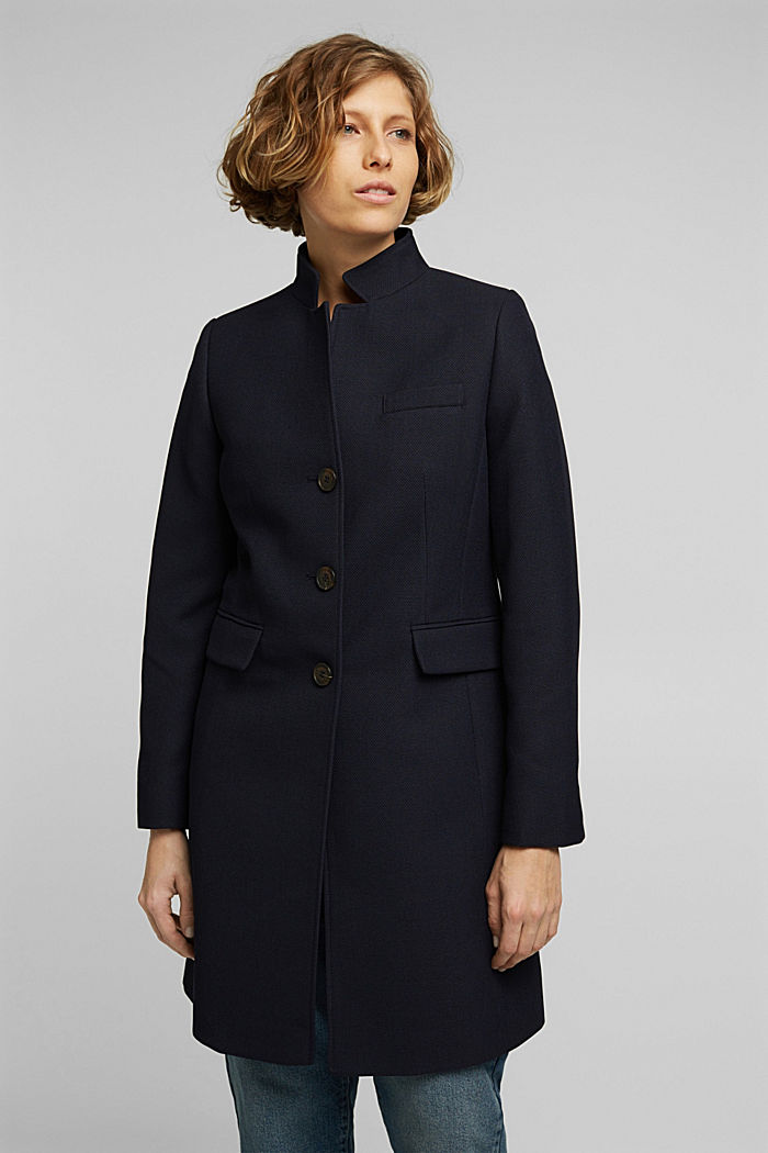 Textured blazer coat, NAVY, detail image number 0