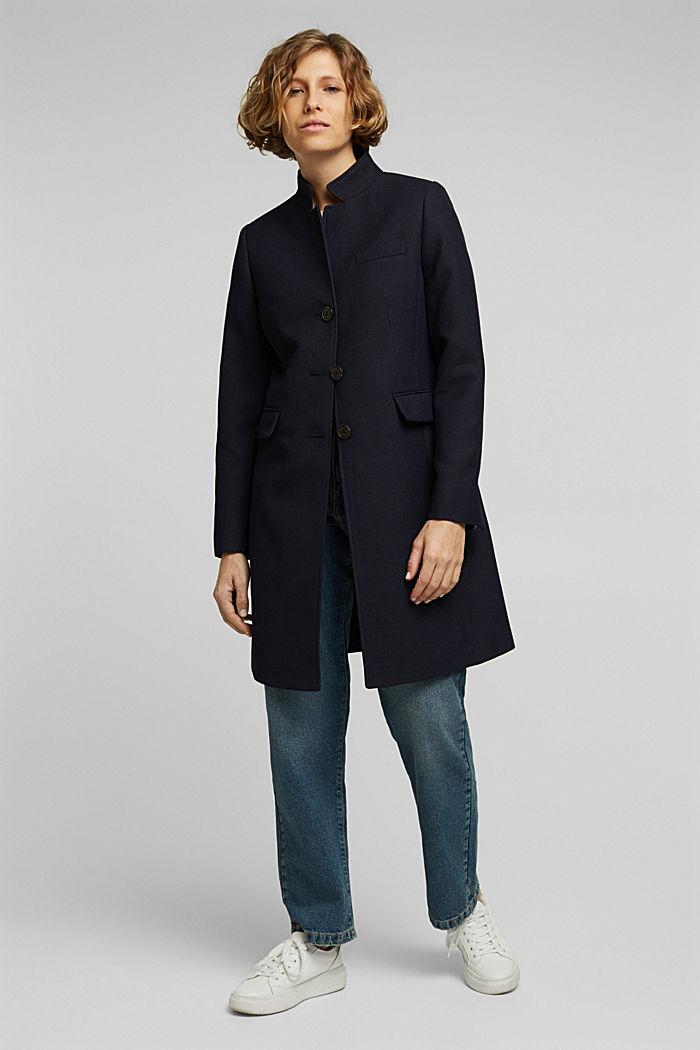 Textured blazer coat, NAVY, detail image number 5