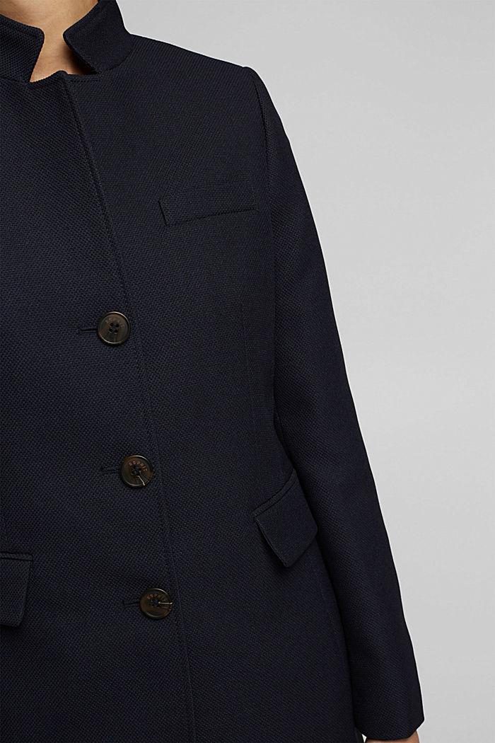 Textured blazer coat, NAVY, detail image number 2