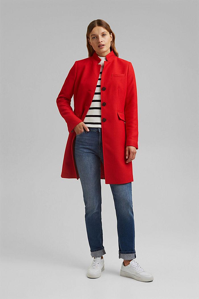 Textured blazer coat, RED, detail image number 1
