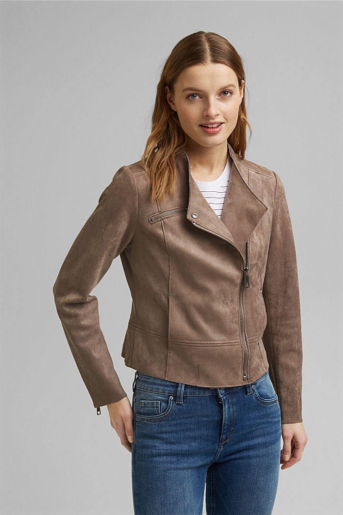 Faux suede biker jacket, TAUPE, detail image number 0