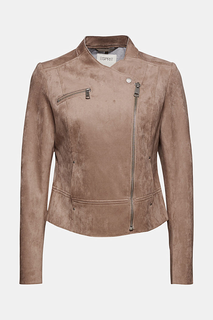 Faux suede biker jacket, TAUPE, detail image number 7