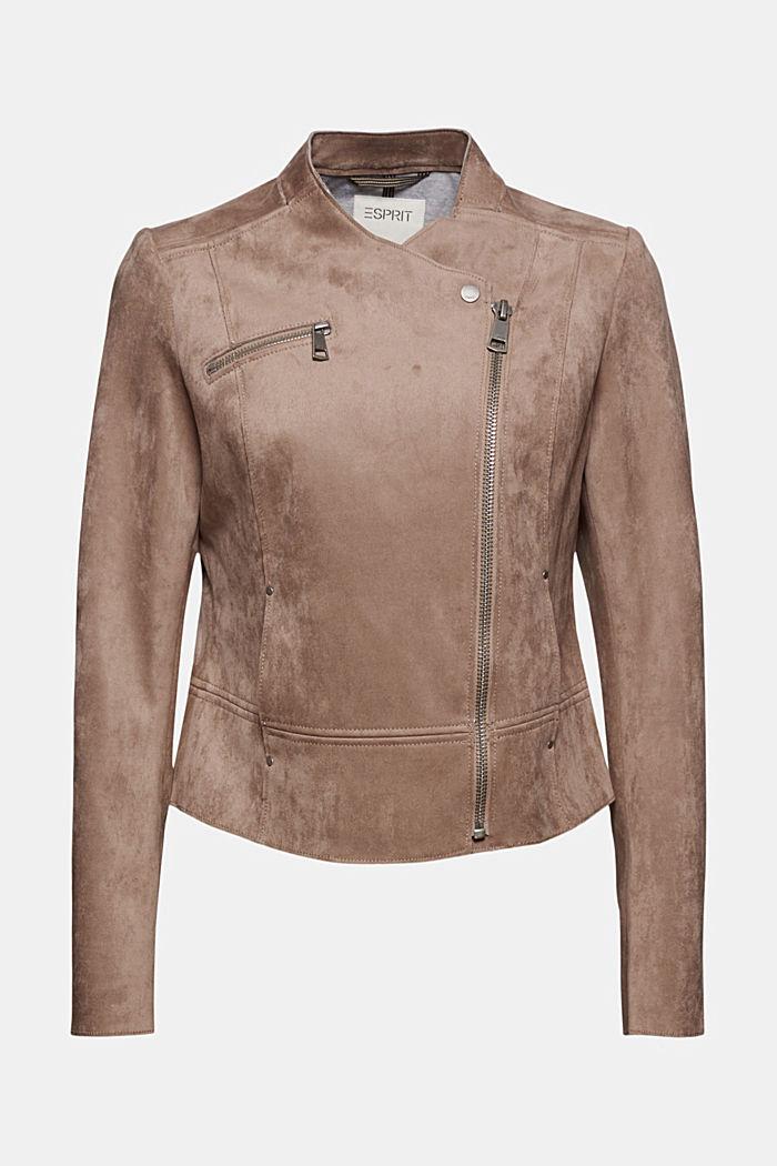 Faux suede biker jacket, TAUPE, detail image number 7