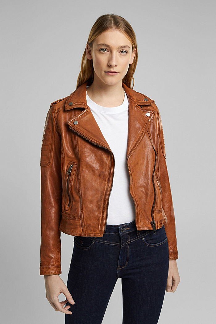 Giacca biker in 100% pelle, TOFFEE, overview