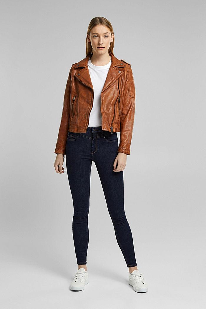 100% leather biker jacket, TOFFEE, detail image number 1