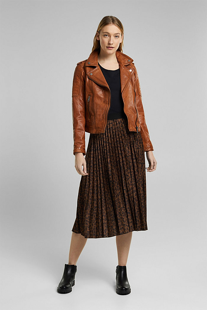 100% leather biker jacket, TOFFEE, detail image number 5