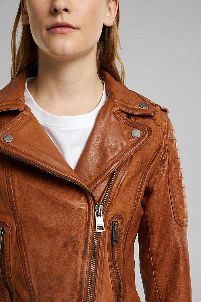 100% leather biker jacket, TOFFEE, detail image number 2