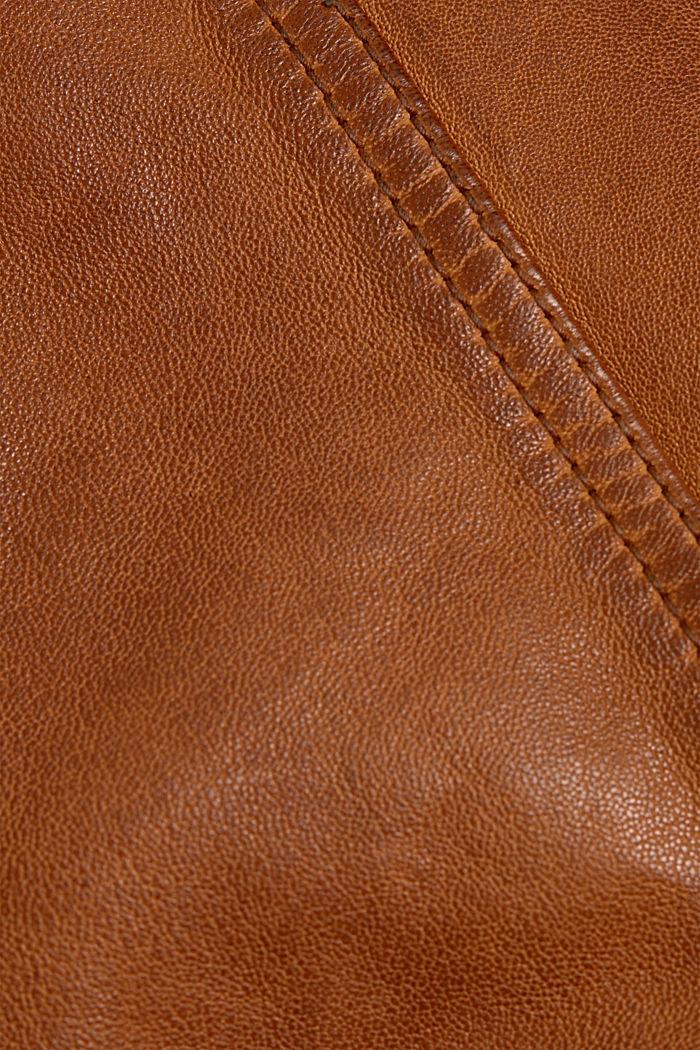 100% leather biker jacket, TOFFEE, detail image number 4