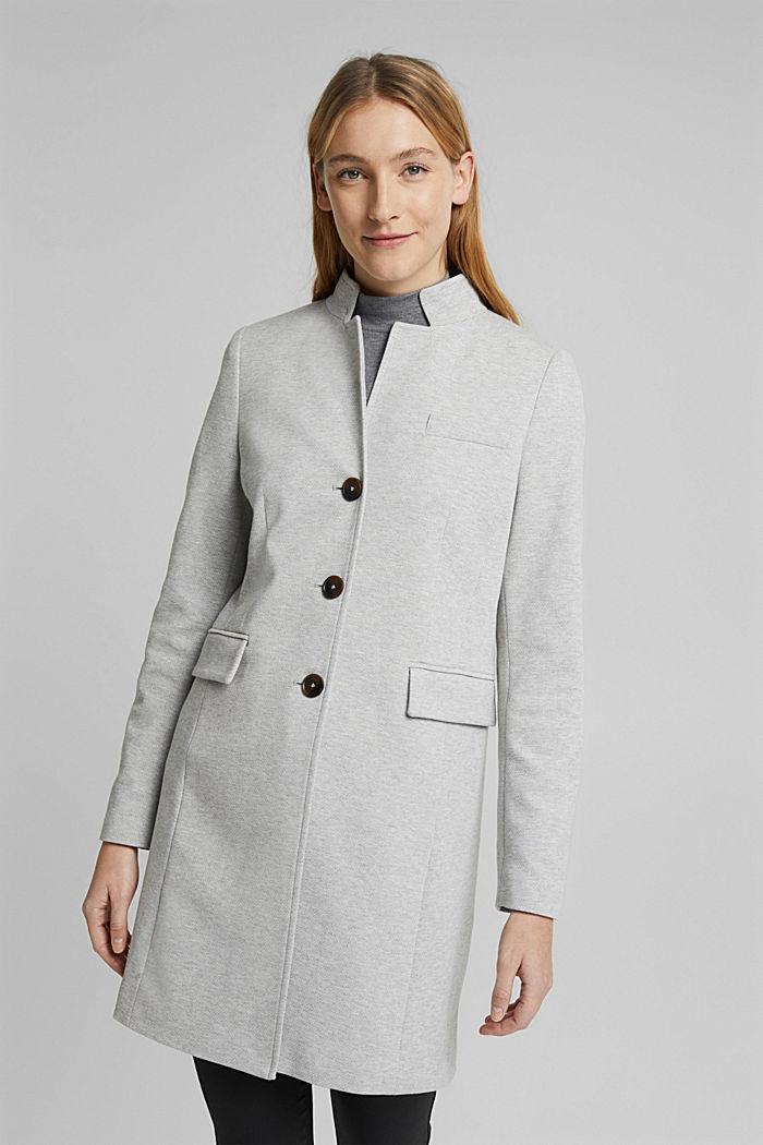 In blended cotton: jersey coat, LIGHT GREY, detail image number 0