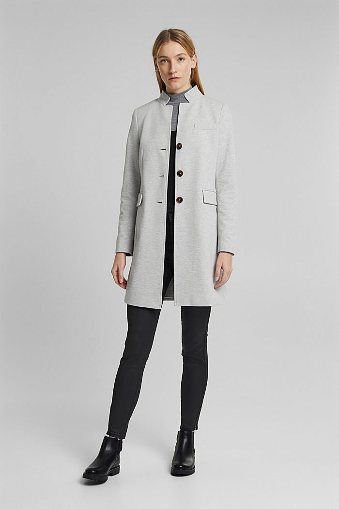 In blended cotton: jersey coat, LIGHT GREY, detail image number 1