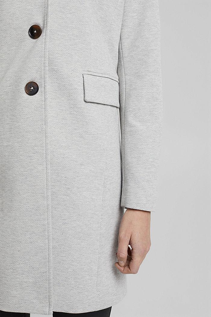 In blended cotton: jersey coat, LIGHT GREY, detail image number 5
