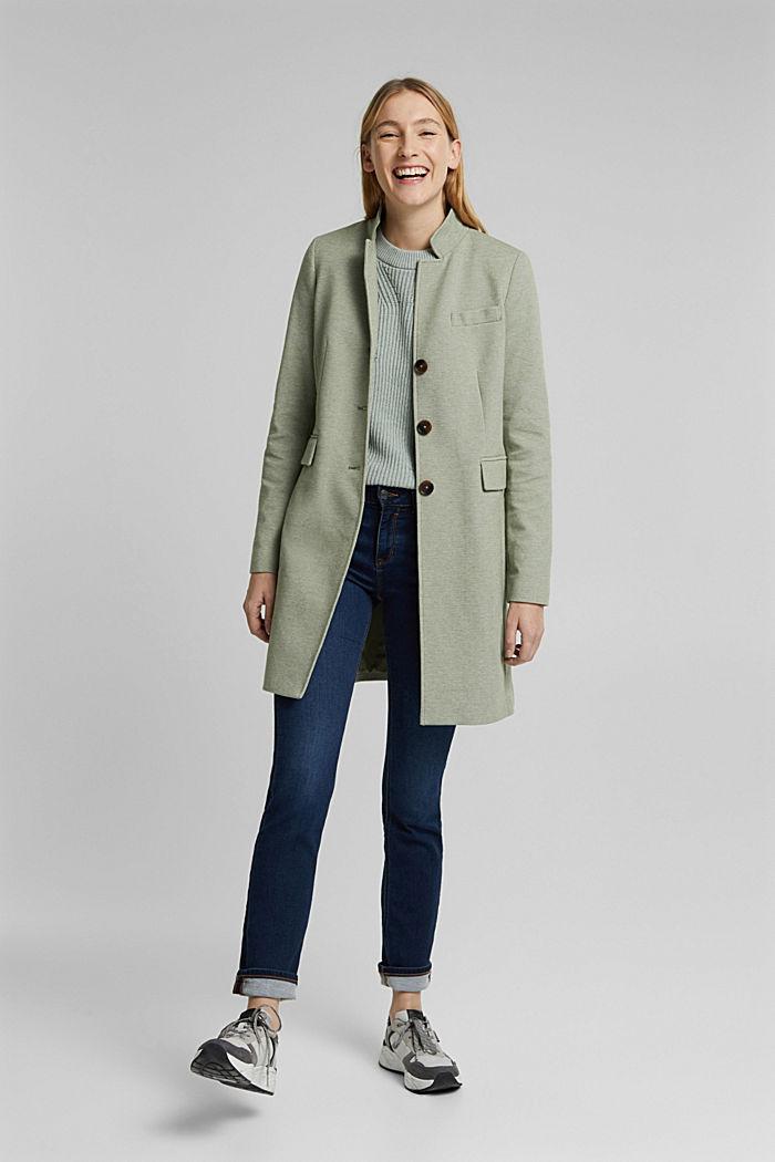 In blended cotton: jersey coat