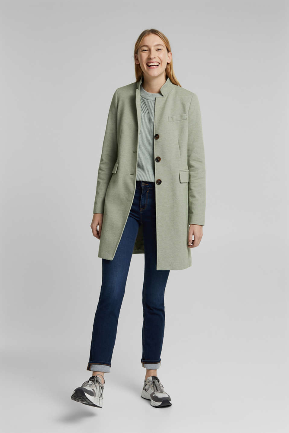 Esprit - In blended cotton: jersey coat