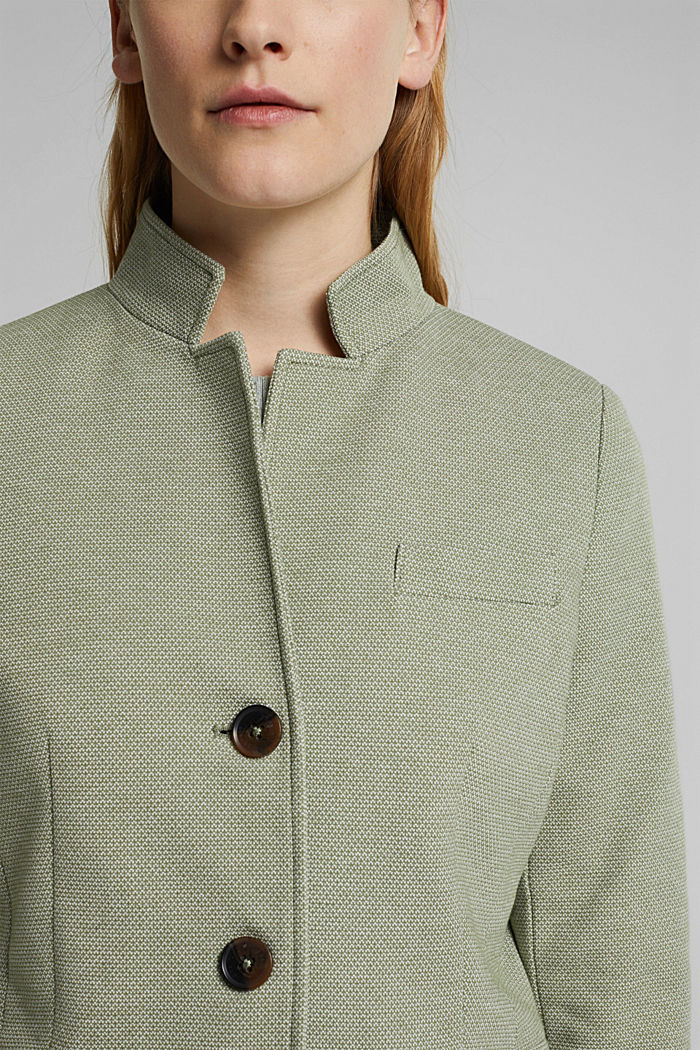 In blended cotton: jersey coat, LIGHT KHAKI, detail image number 2