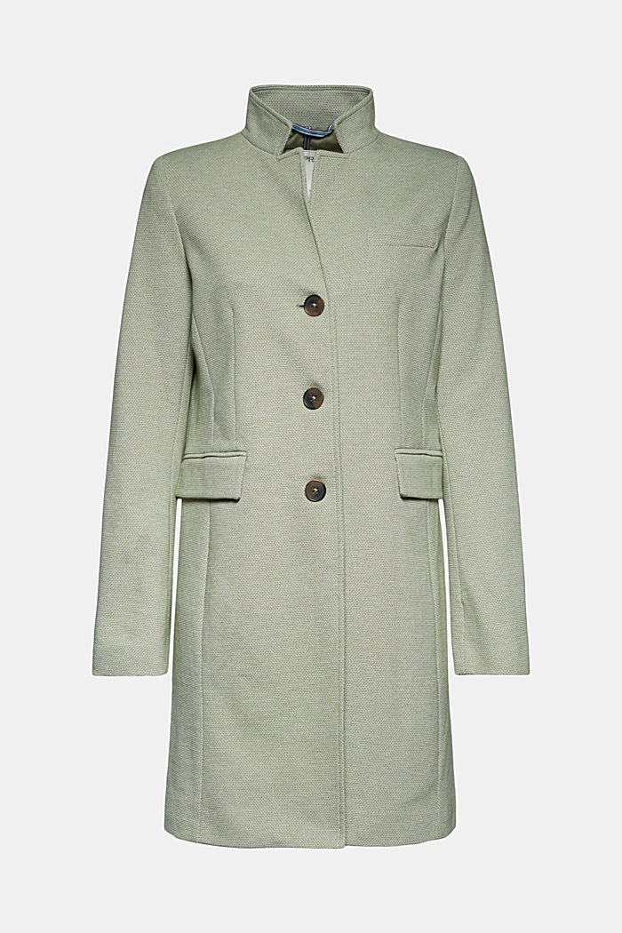 In blended cotton: jersey coat, LIGHT KHAKI, overview