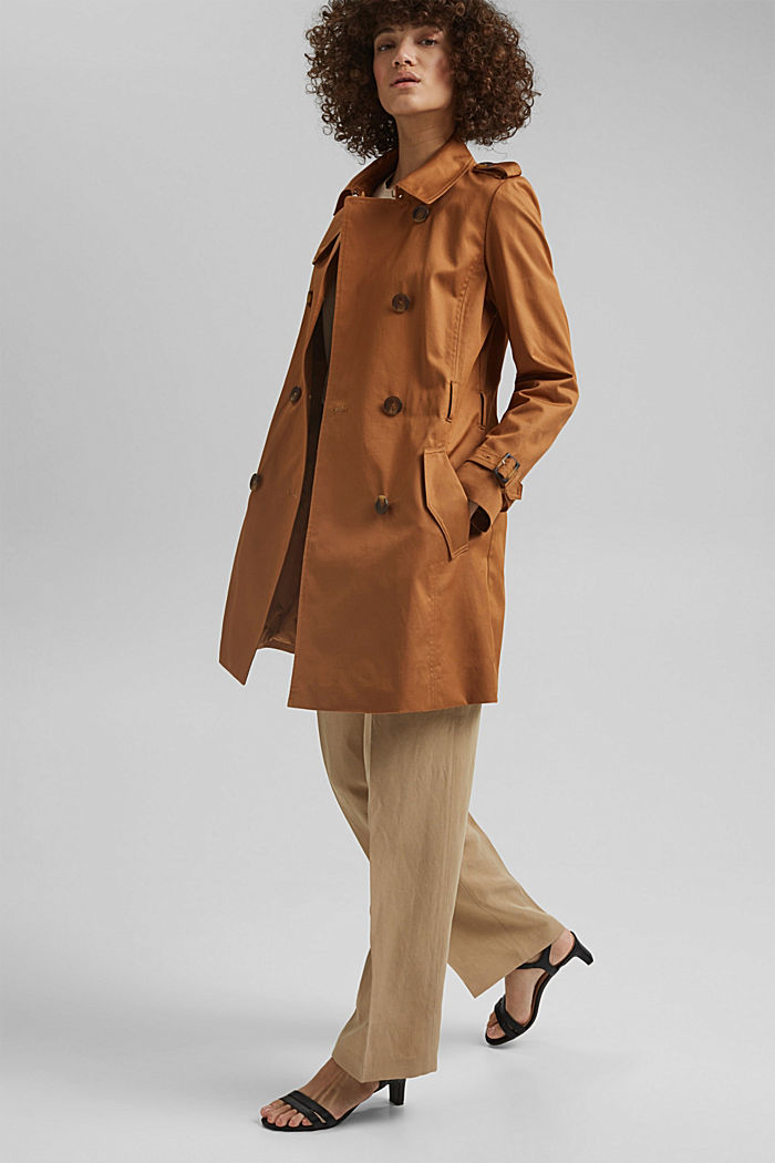 Recycelt: Trenchcoat mit Organic Cotton, CAMEL, detail image number 1