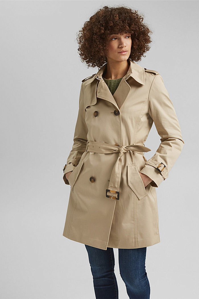 Recycled: trench coat containing organic cotton, SAND, detail image number 0