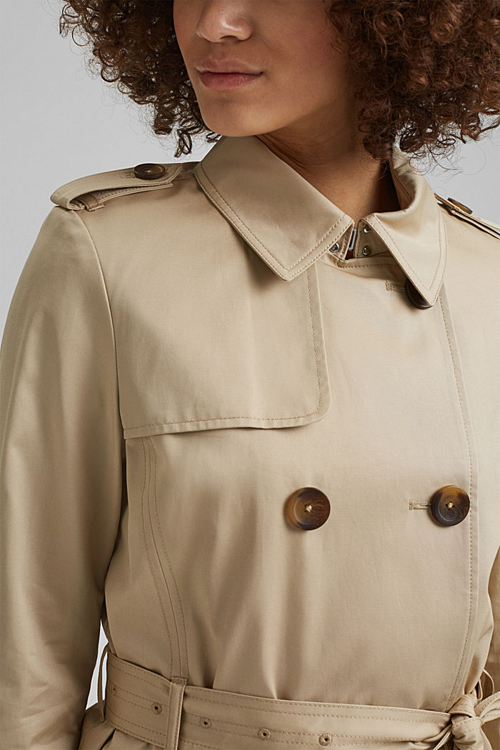 Recycled: trench coat containing organic cotton, SAND, detail image number 2