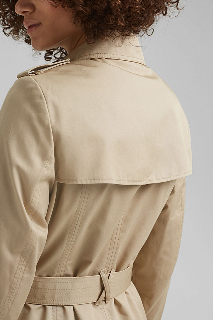 Recycled: trench coat containing organic cotton, SAND, detail image number 5