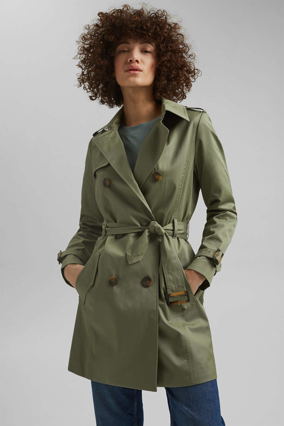 Esprit - Gerecycled: trenchcoat van organic cotton