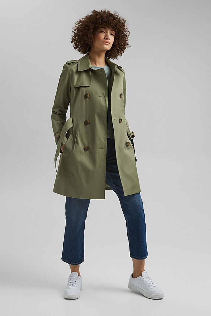 Recycled: trench coat containing organic cotton, LIGHT KHAKI, detail image number 1