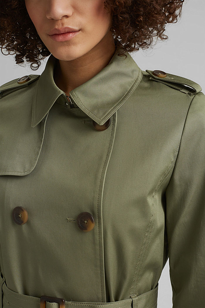 Recycelt: Trenchcoat mit Organic Cotton, LIGHT KHAKI, detail image number 2