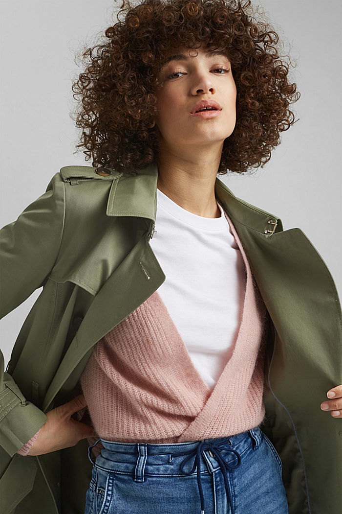 Recycelt: Trenchcoat mit Organic Cotton, LIGHT KHAKI, detail image number 7