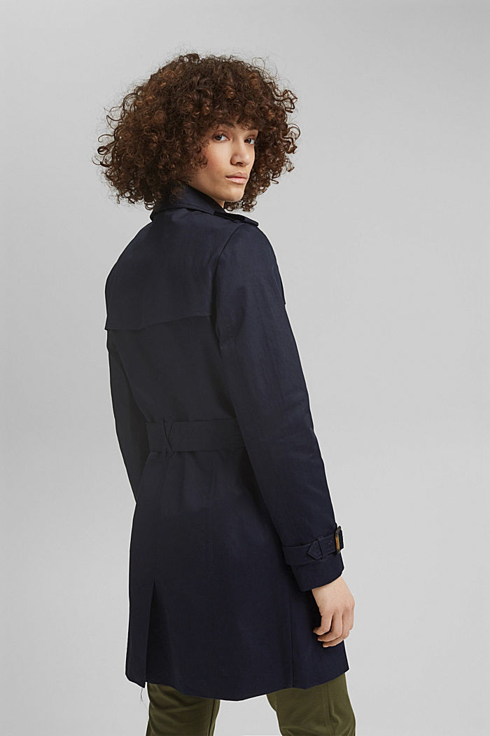 Recycelt: Trenchcoat mit Organic Cotton, NAVY, detail image number 3