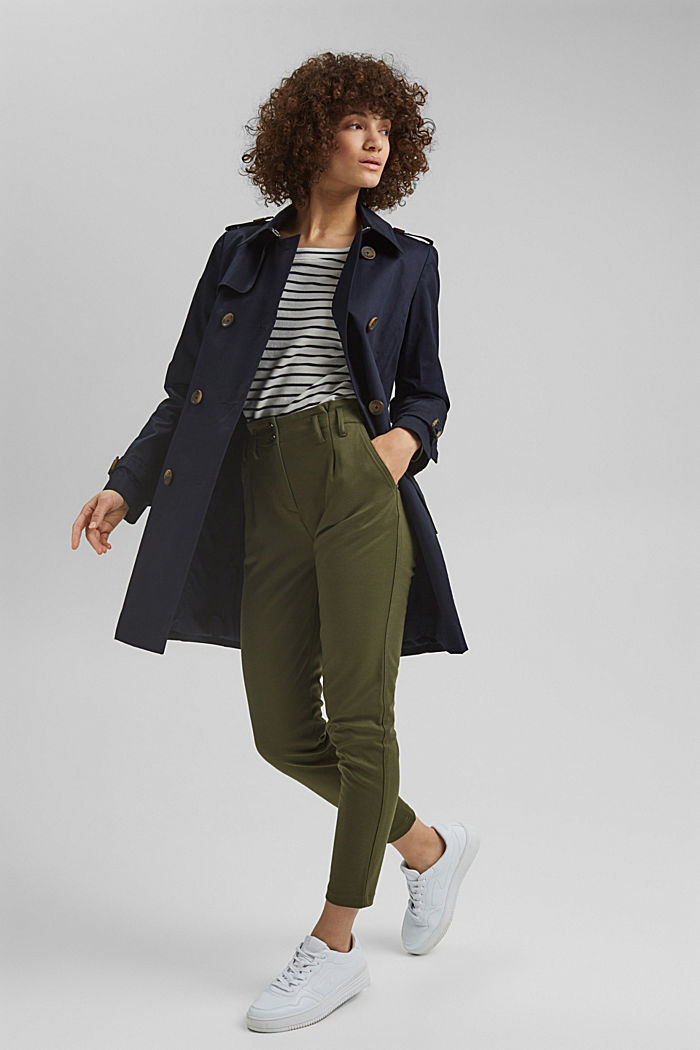 Recycelt: Trenchcoat mit Organic Cotton, NAVY, detail image number 1