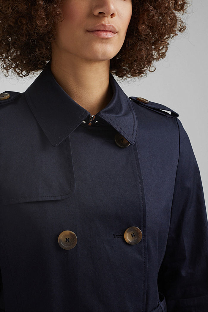 Recycelt: Trenchcoat mit Organic Cotton, NAVY, detail image number 2