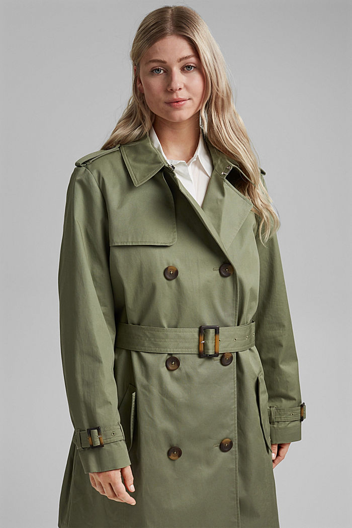 CURVY Trenchcoat aus Bio-Baumwolle, KHAKI GREEN, detail image number 0