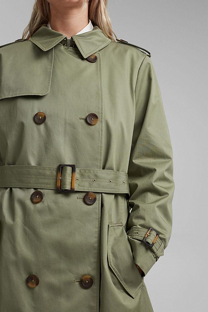 CURVY trenchcoat i ekobomull, KHAKI GREEN, detail image number 2