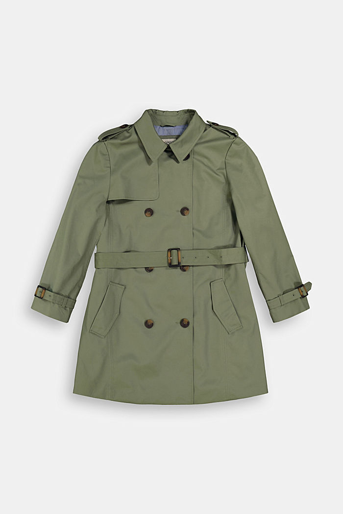 CURVY trench coat made of organic cotton, KHAKI GREEN, detail image number 1