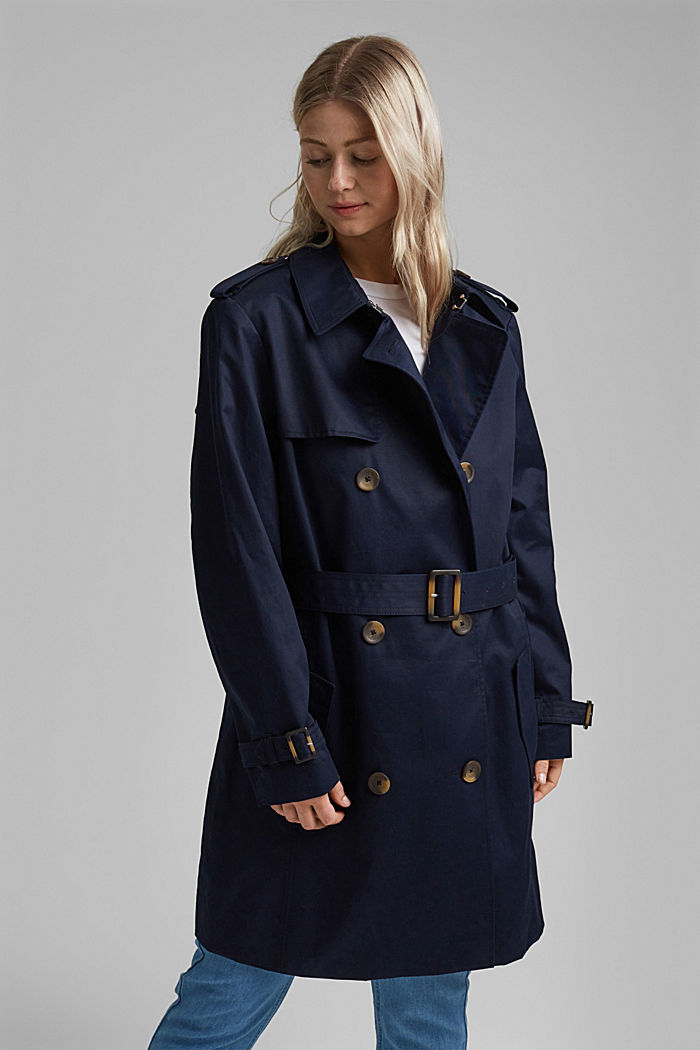 CURVY trench coat made of organic cotton, NAVY, detail image number 0