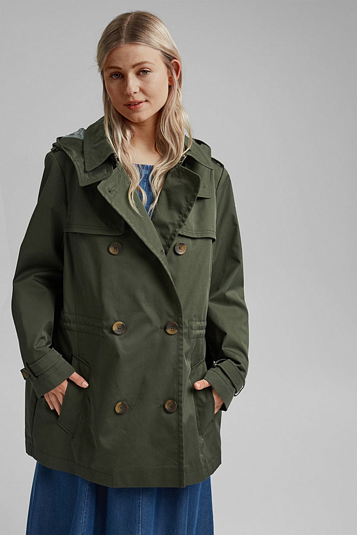 Hooded trench coat made of organic cotton, KHAKI GREEN, overview