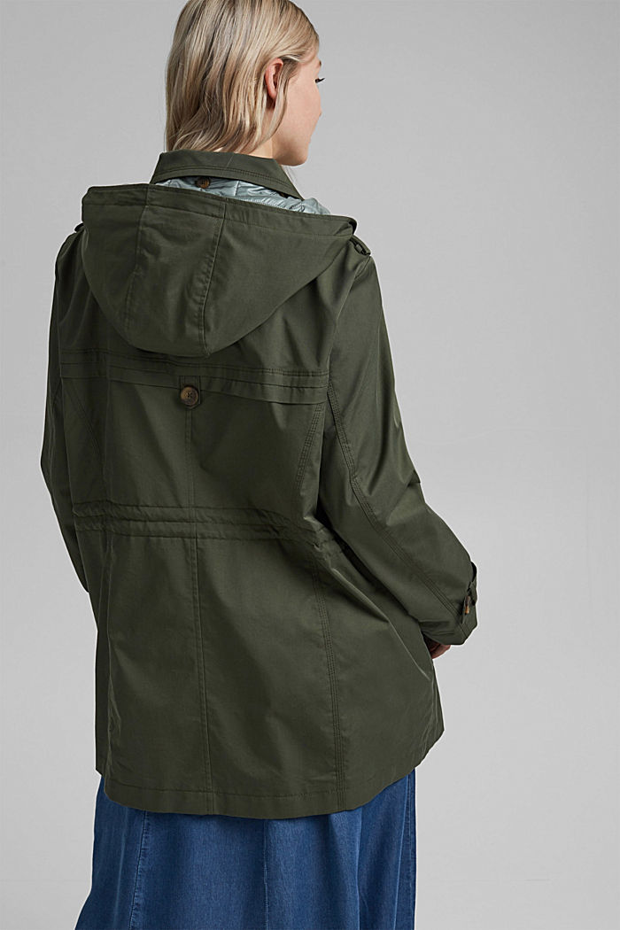 Hooded trench coat made of organic cotton, KHAKI GREEN, detail image number 3