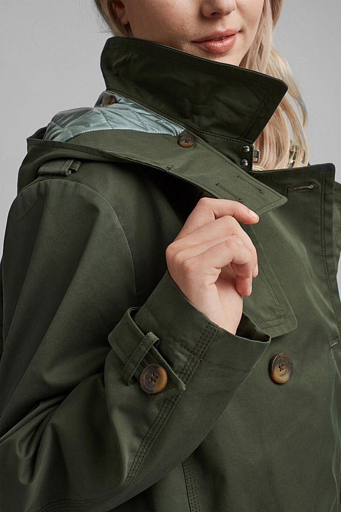 Hooded trench coat made of organic cotton, KHAKI GREEN, detail image number 2
