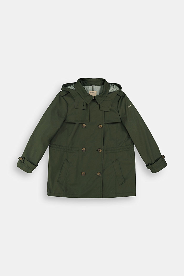 Hooded trench coat made of organic cotton, KHAKI GREEN, detail image number 5